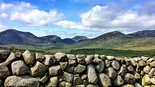 Stone wall in the Mourne mountains near Kiltarriff Hall